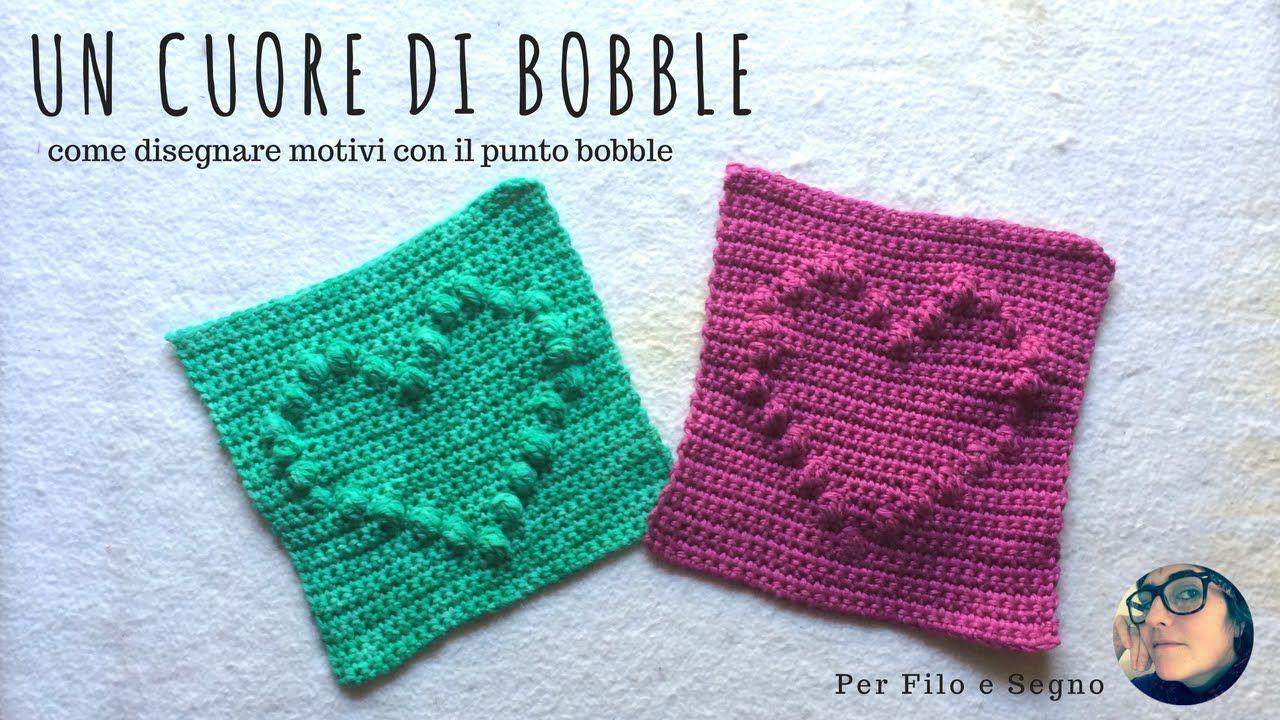 Tutorial - Un cuore di Bobble (come realizzare disegni con il punto Bobble) #bobble stitch #square #heart #bobble heart #punto bobble #punto puff #mattonella #uncinetto #per filo e segno