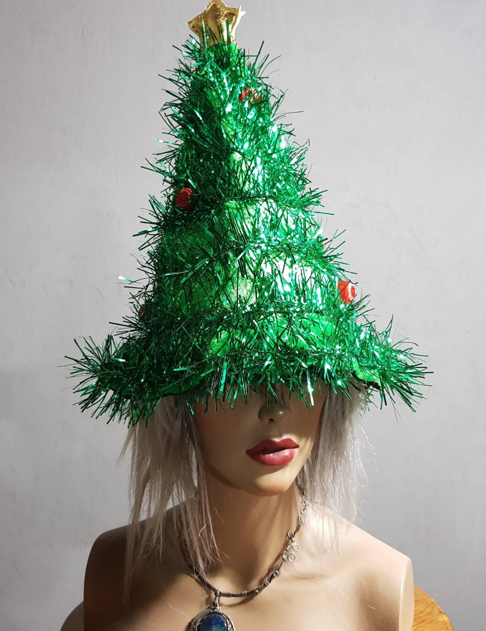 Christmas Tree Hat Christmas Accessories Christmas Party Etsy Christmas Tree Hat Christmas Party Hats Christmas Accessories
