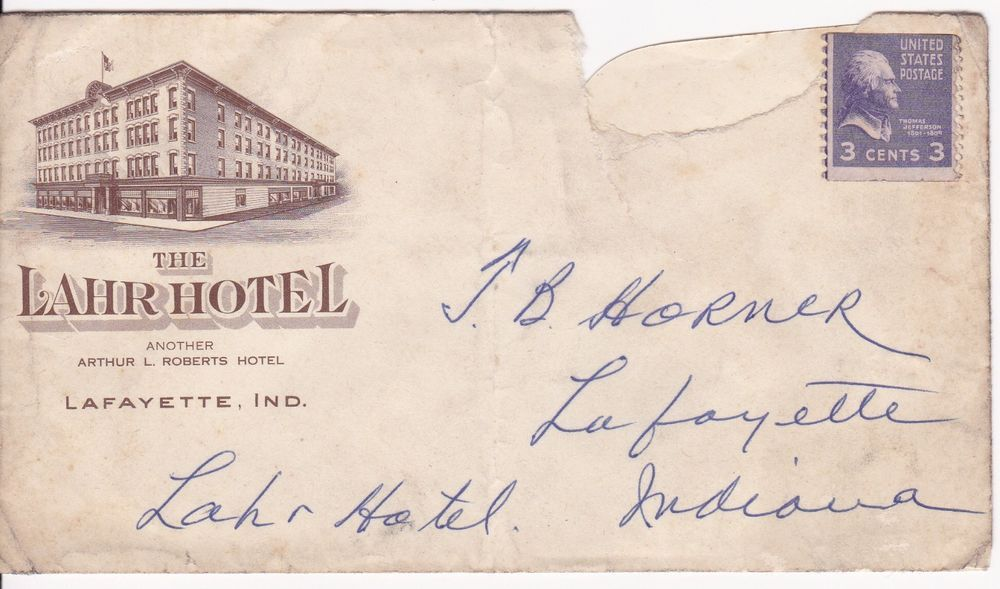 1900s Envelope Lahr Hotel Lafayette In Indiana For Sale On Ebay