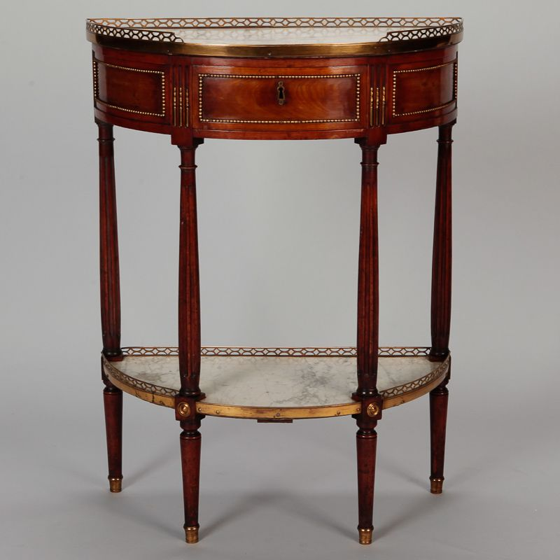Louis Xvi Style Demi Lune Serving Table With Drawer And White Marble Circa 1900 French Has Functional Center Br Mounts
