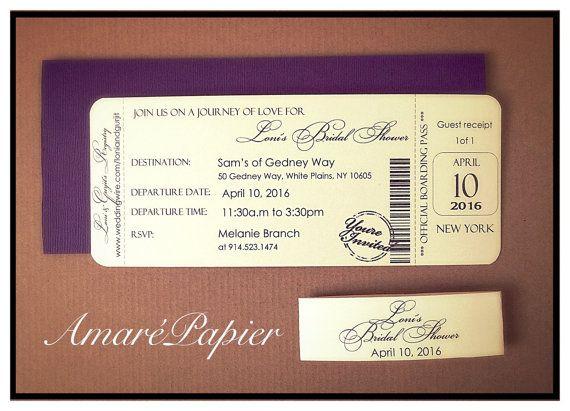Purple wedding invitation Ticket Wedding Invitation by AmarePapier