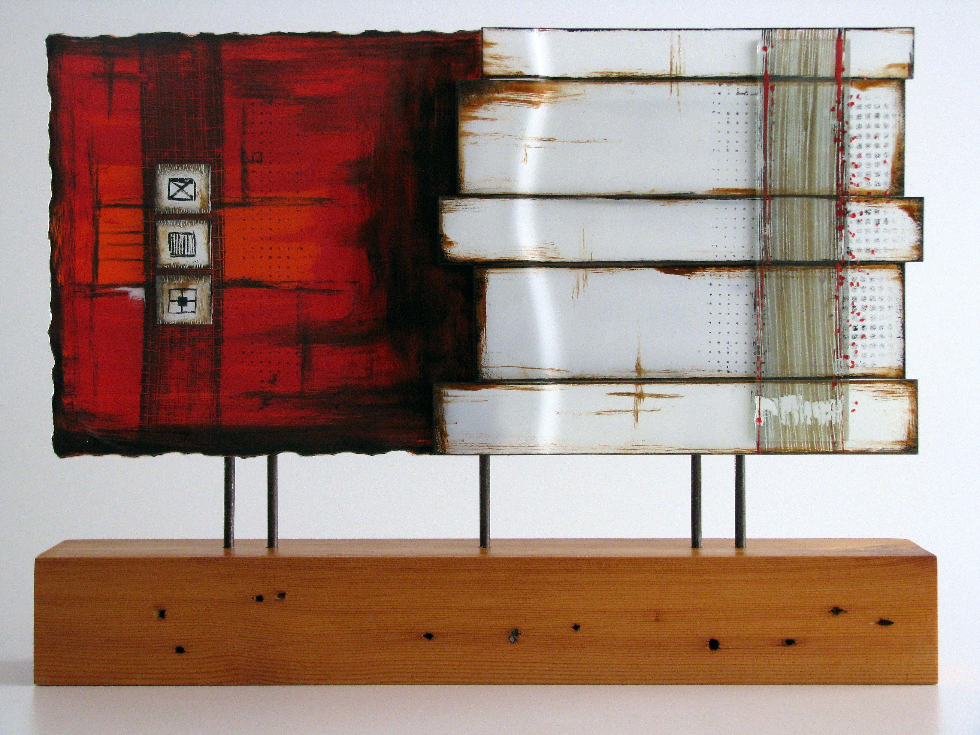 Fused glass, reclaimed wood, steel sculpture  M Beneke