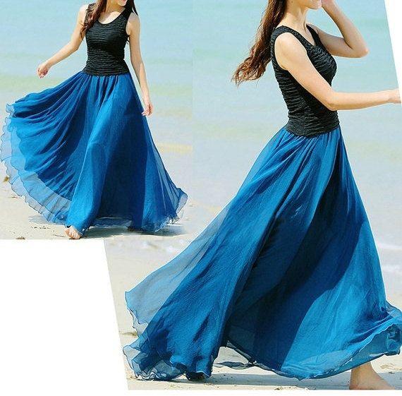 Silk Chiffon Peacock Blue Long Party Skirt Evening Wedding Lightweight Sundress Summer Holiday Beach Dress Bridesmaid Dress Maxi Skirt