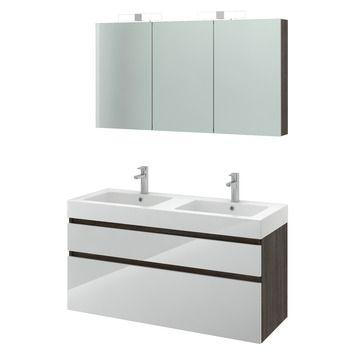 Bruynzeel Monta badmeubelset met spiegelkast wengé/hoogglans wit 120 ...