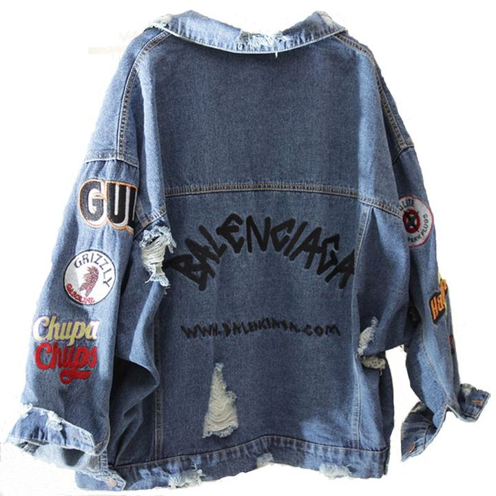 Loose Embroidery Hip Hop Hole Single Breasted denim jackets