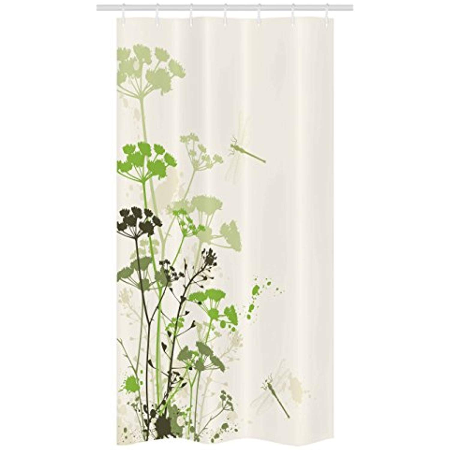 Dragonfly Stall Shower Curtain By Ambesonne Minimalist Foliage