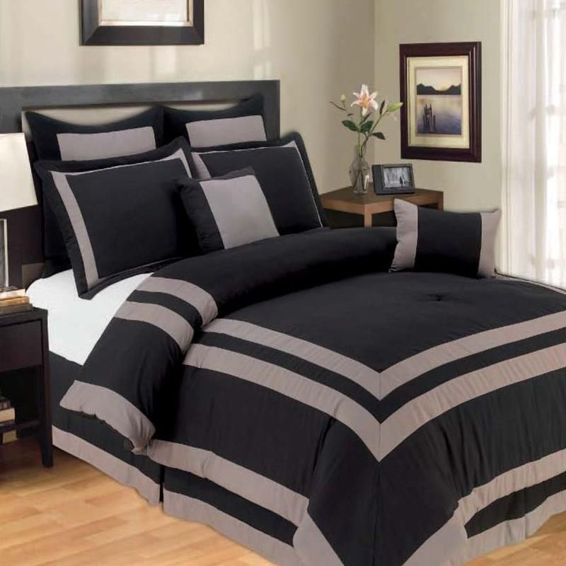Harbor Black Gray Oversized King Bedding With Nightstand Set