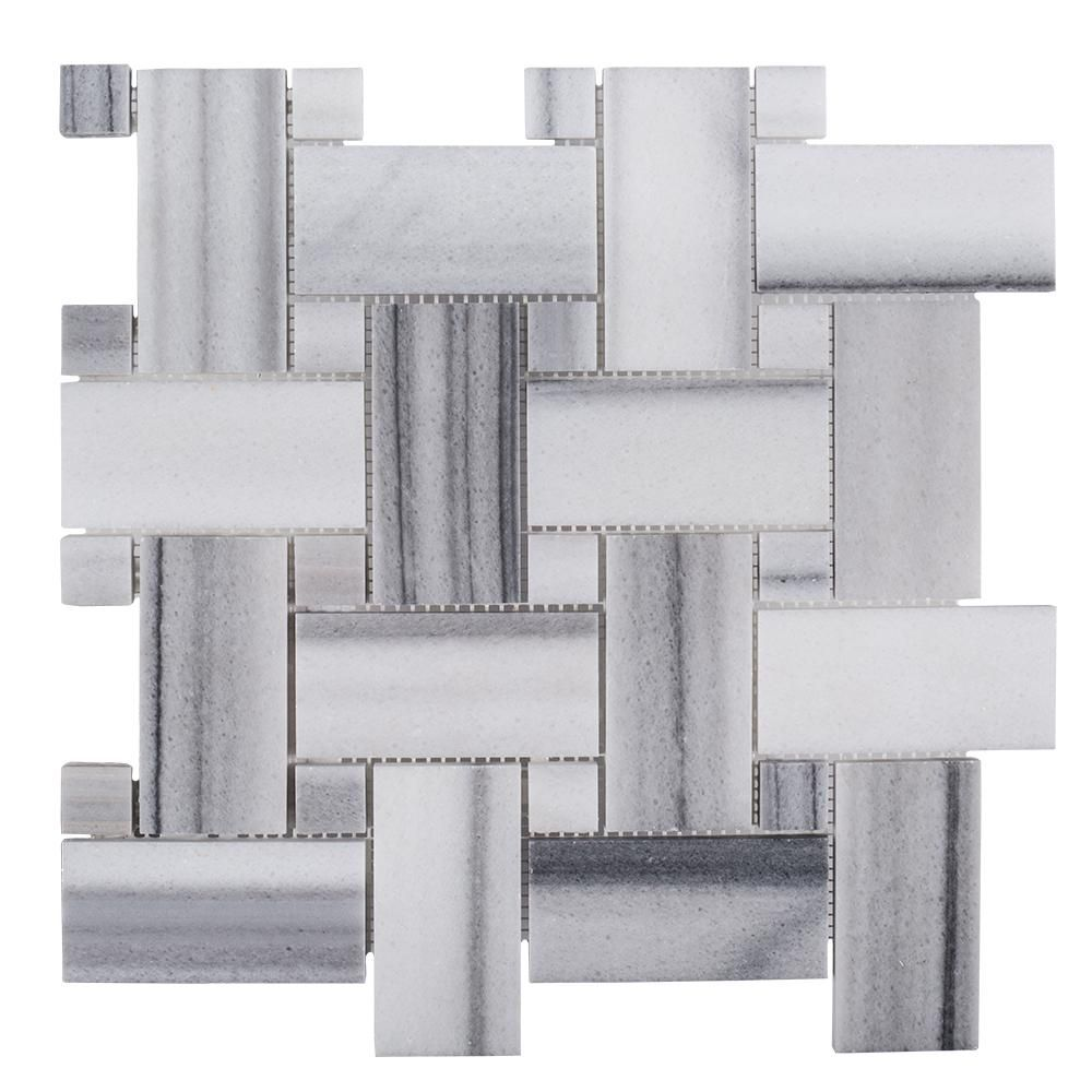 Jeff Lewis Camden 12 in. x 12 in. x 10 mm Marble Mosaic Tile-98484 ...