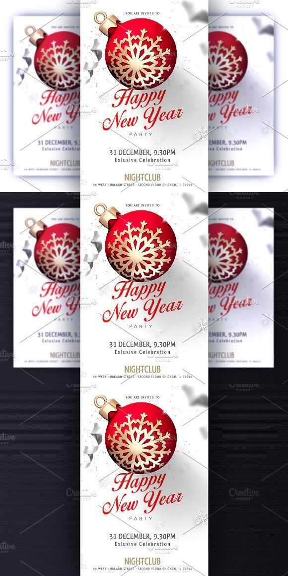 Happy New Year Party Invitation Flyer Templates   Flyer