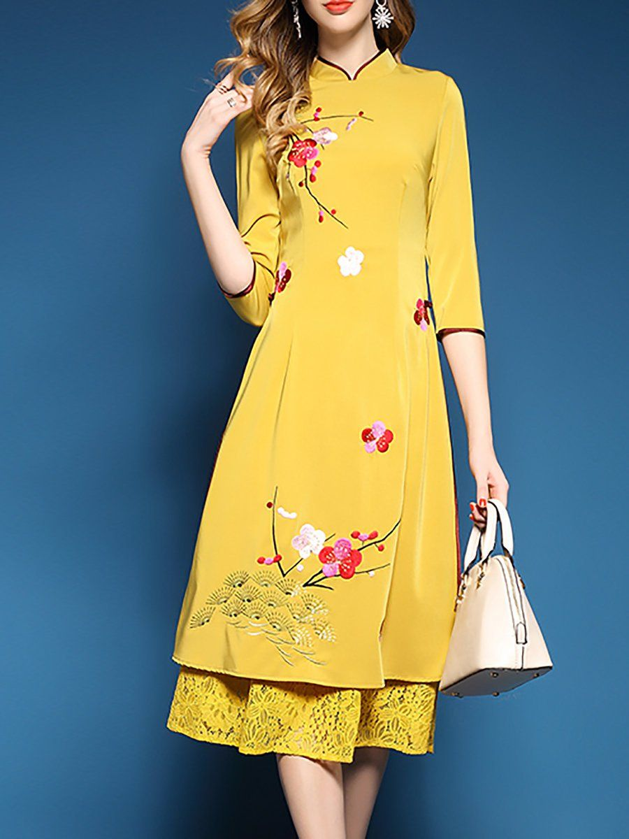 Shop Midi Dresses Yellow Embroidered 3 4 Sleeve Floral Midi Dress Online Discover Unique Designers Fashion At Stylewe Dresses Designer Outfits Woman Fashion [ 1200 x 900 Pixel ]