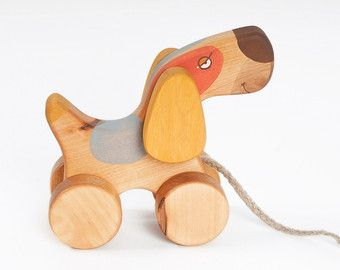 Pull dog Wooden Toy Dog Natural Wooden Toy Wood Toddlers