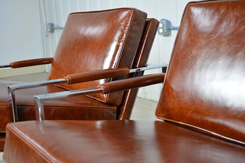 Awe Inspiring Milo Baughman Pair Of Leather And Chrome Flat Bar Lounge Theyellowbook Wood Chair Design Ideas Theyellowbookinfo