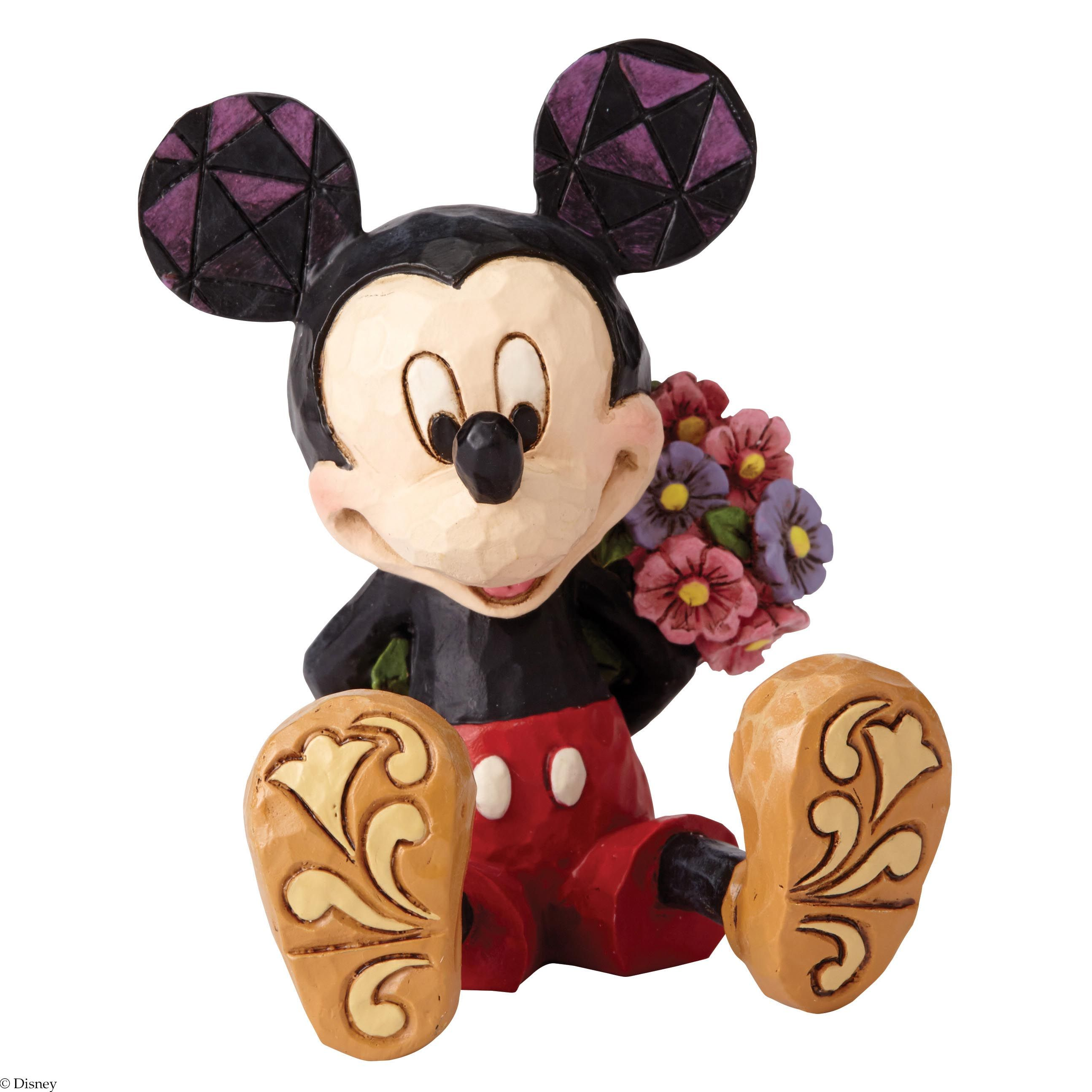 4054284 Mickey Mouse with Flowers Mini Figurine- Mickey hides a ...