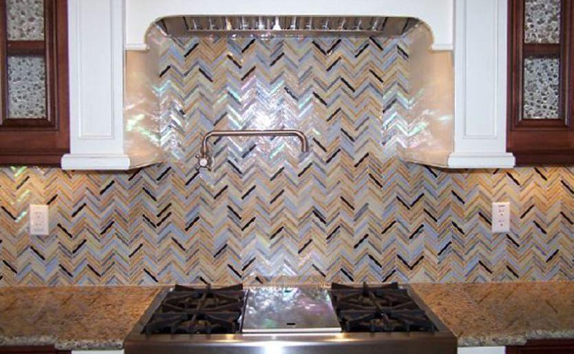 Rainbow Herringbone Pattern Lunada Bay Tile Used In