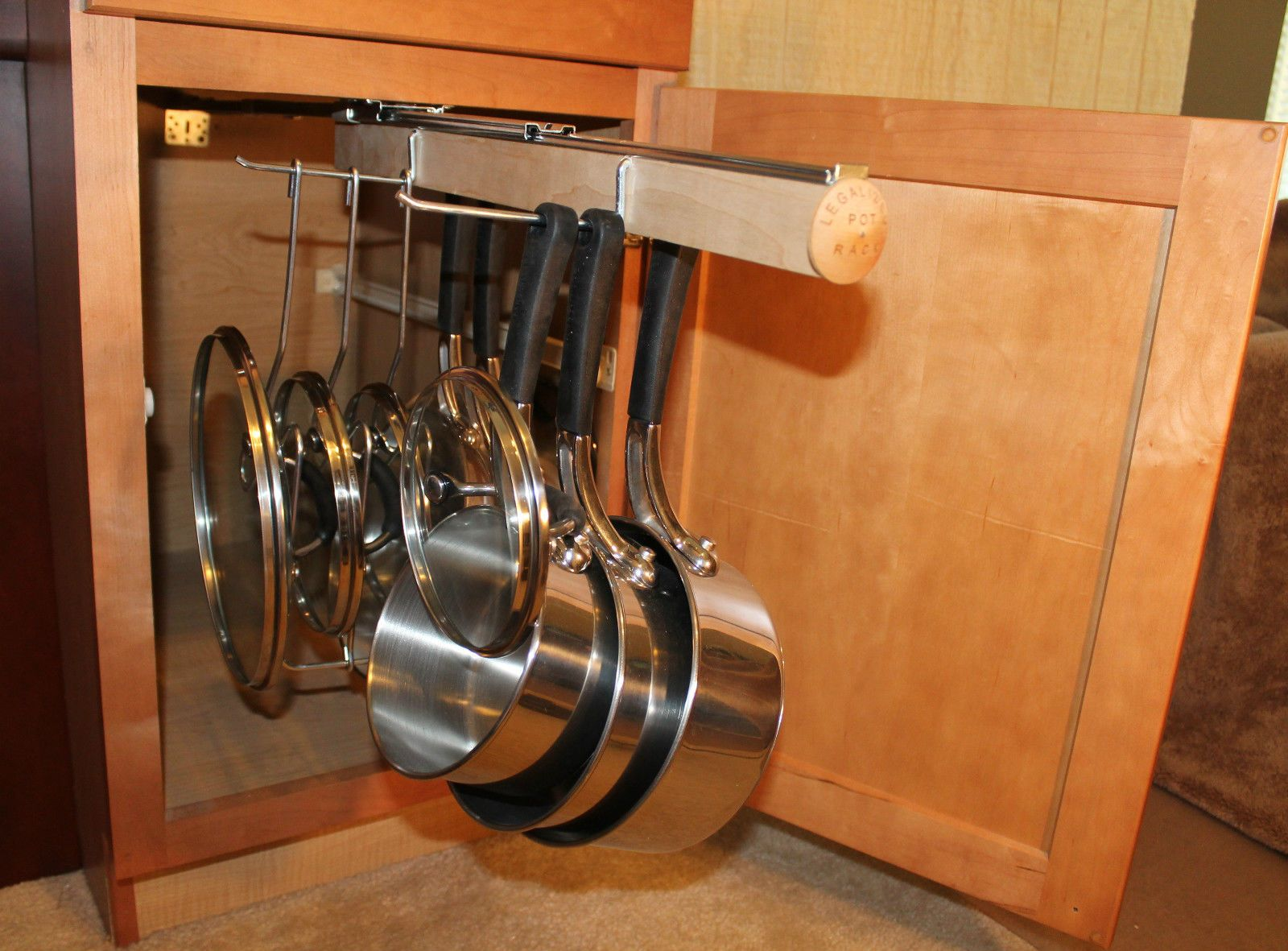 Legalized Pot Rack Pull Out Hanging And Pan Lid Cookware Organizer Ebay