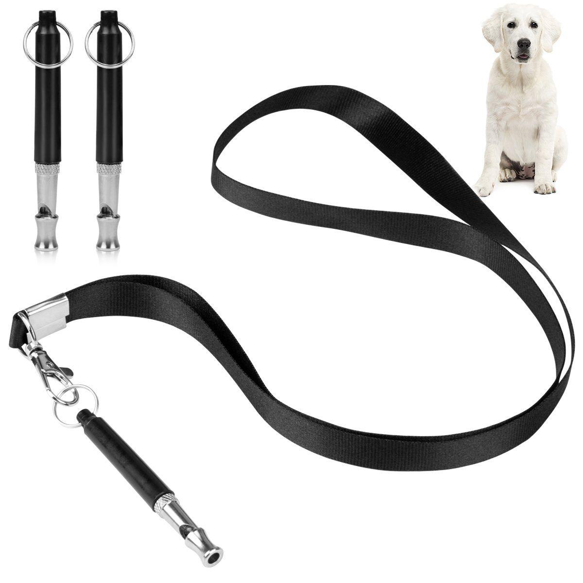 Amariver Black Dog Training Whistles With Lanyard Strap 3 Pack