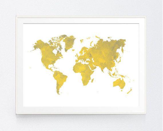 Yellow gray world map print mustard and grey world map wall art yellow gray world map print mustard and grey world map wall gumiabroncs Image collections