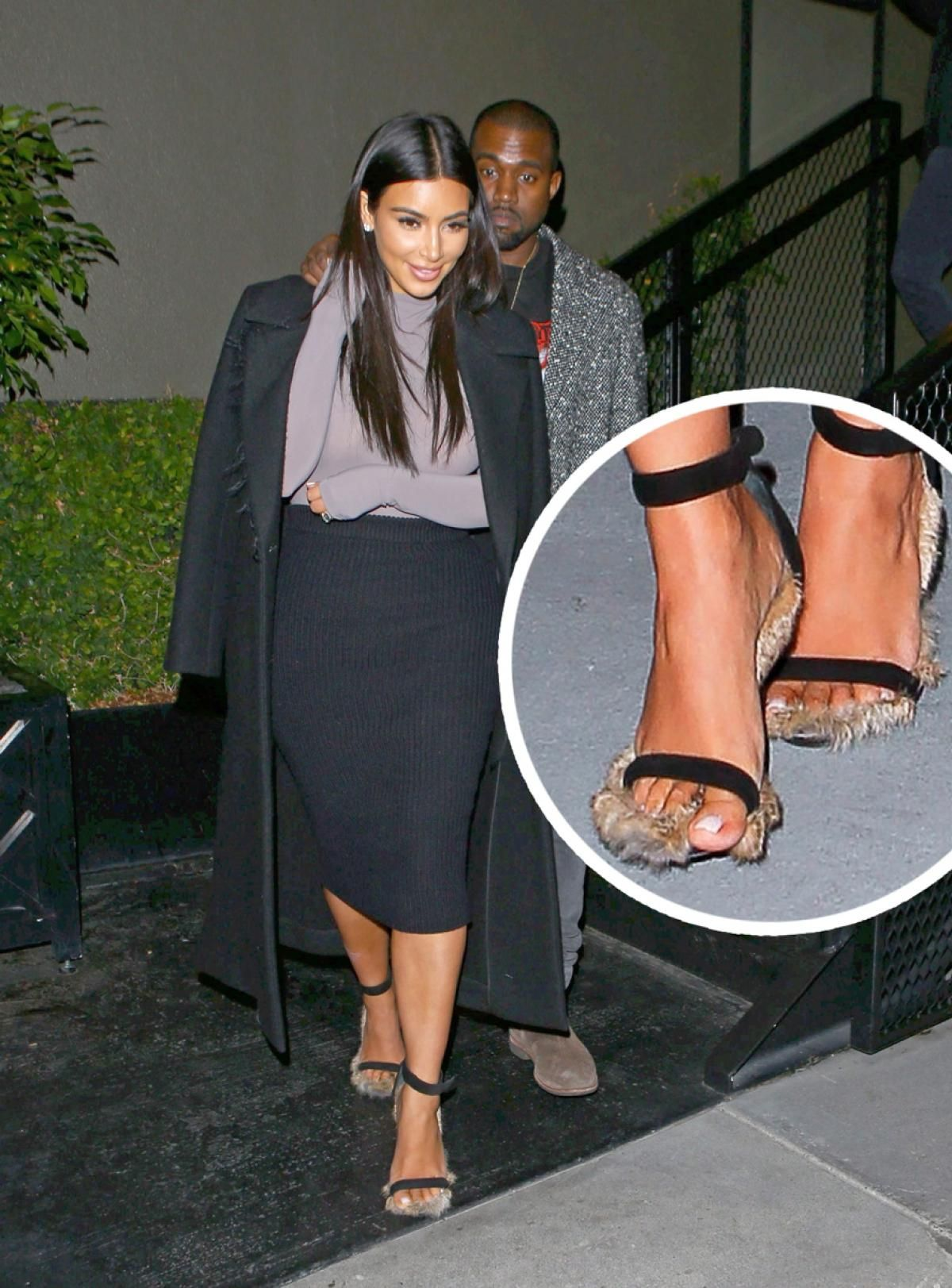 77a9a2b6b Kim Kardashian wears fur lined heels when out with Kanye West on date night  in California.