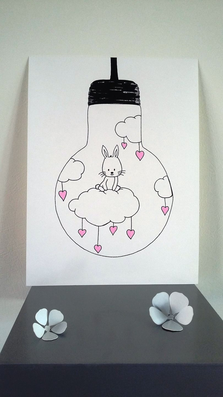 affiche illustration ampoule je vole lapin sur un. Black Bedroom Furniture Sets. Home Design Ideas