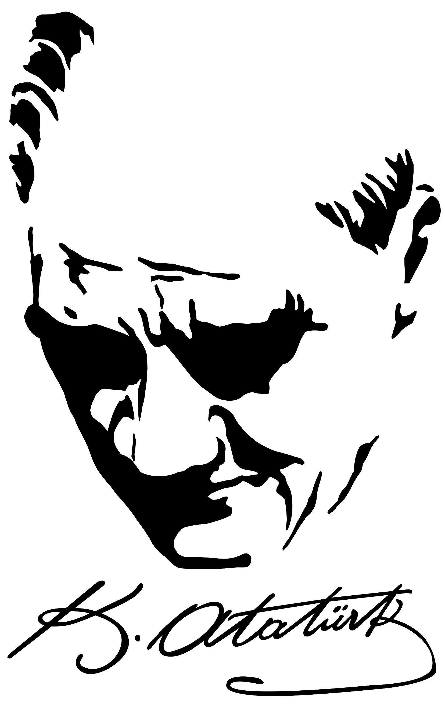 Ataturk Siluetli Imza Resim Kara Kalem Portre Cizim