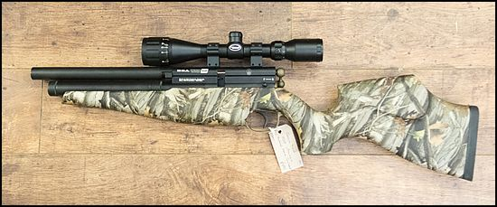 BSA Ultramax SE in .22  Shortened sleeve. Cerakoted parts.  Fitted with BSA 3-9x40 AO scope