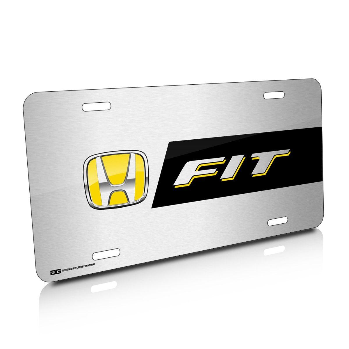 Honda Fit Yellow Logo Stripe Brushed License Plate PLHD