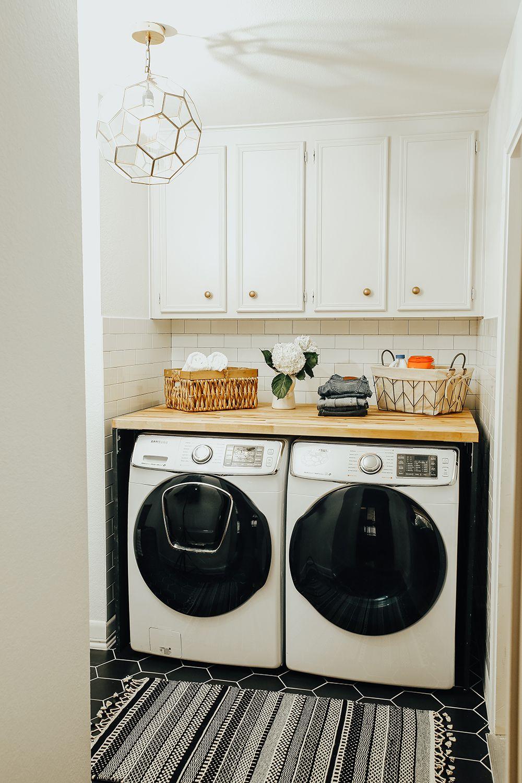 Before After Laundry Room Renovation Livvyland Laundry Room Laundry Room Countertop Laundry Room Decor