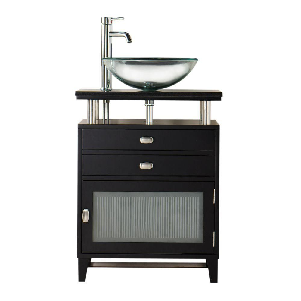 Home Decorators Collection Moderna 24 In W X 21 In D Bath Vanity In Black With Marble Vanity Top In Black And Glass Door 1140400210 At The 이미지 포함