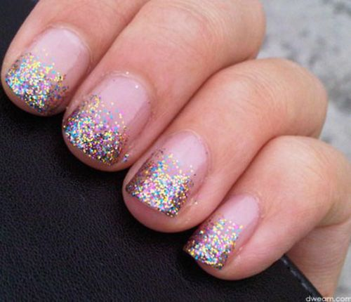 sparkle french manicure new trends in wedding nails all things wedding pinterest. Black Bedroom Furniture Sets. Home Design Ideas