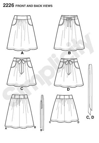 Simplicity 2226 Learn to Sew Misses' Skirt Line Drawing