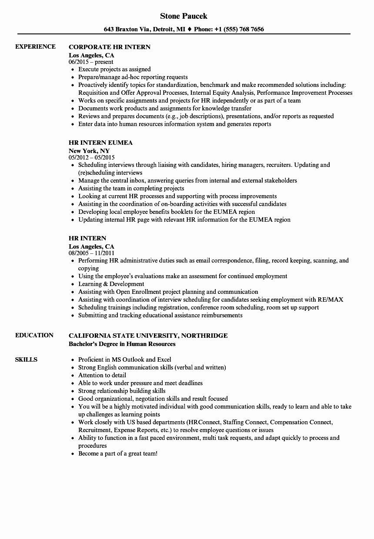 20 human resources intern resume in 2020 job resume