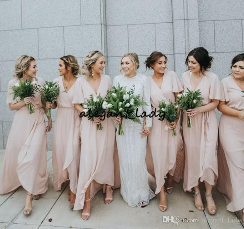 e2ef7b4037 Pale Pink Chiffon country Bridesmaid Dresses Western Country Garden ...