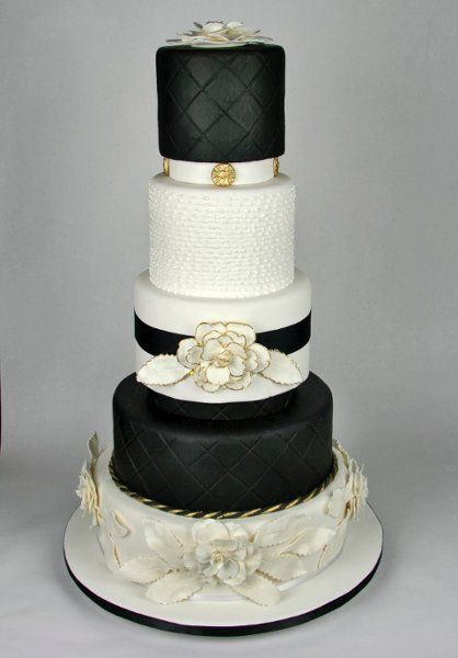 Five tier round custom black and white fondant diamond quilt modern ...