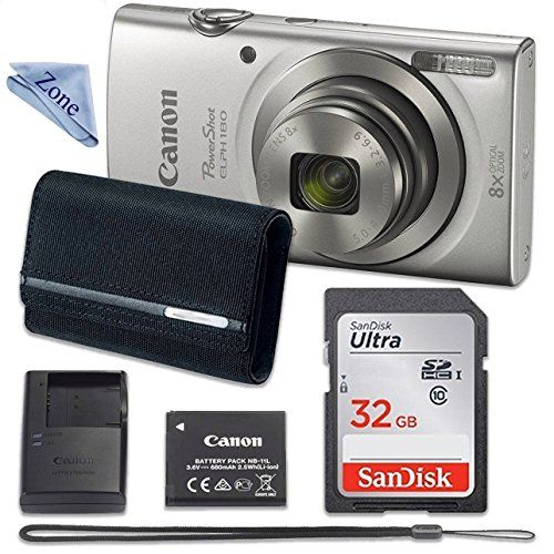 Canon PowerShot ELPH 180 Digital Camera (Silver) with 32GB Memory + CANON PSC2070 CASE + CLOTH is part of Clothes Photography Digital Cameras - Buy Canon PowerShot ELPH 180 Digital Camera (Silver) with 32GB Memory + CANON PSC2070 CASE + CLOTH at Discounted Prices ✓ FREE DELIVERY possible on eligible purchases                                                                                                                                                                                                                                               Canon PowerShot ELPH 180 Digital Camera (Silver) with 32GB Memory + CANON PSC2070 CASE + CLOTH                                                                                                                        $154 00                                                                                                                                                 2            new                              from $149 00                                                                                                                            Buy Now                                                   Amazon com                                                                                                                                 as of August 24, 2018 119 pm                                                                                                                                                                                                                                                                                                          Features                                      8x Optical Zoom with Optical Image Stabilizer helps you capture images with flexibility and ease                                                                                  20 0 Megapixel CCD sensor combines with the DIGIC 4+ Image Processor to help deliver stunning image quality                                                                                  Smart AUTO intelligently selects the proper settings based on predefined shooting situations                                                                                  720p HD video capabilities                                                                                  Kit Includes Canon poerShot Elph 180 silver, Case, 32GB SD card, Cleaning Cloth