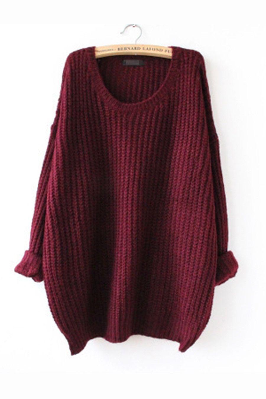 Retro Burgundy Long Sweater | Looks | Pinterest