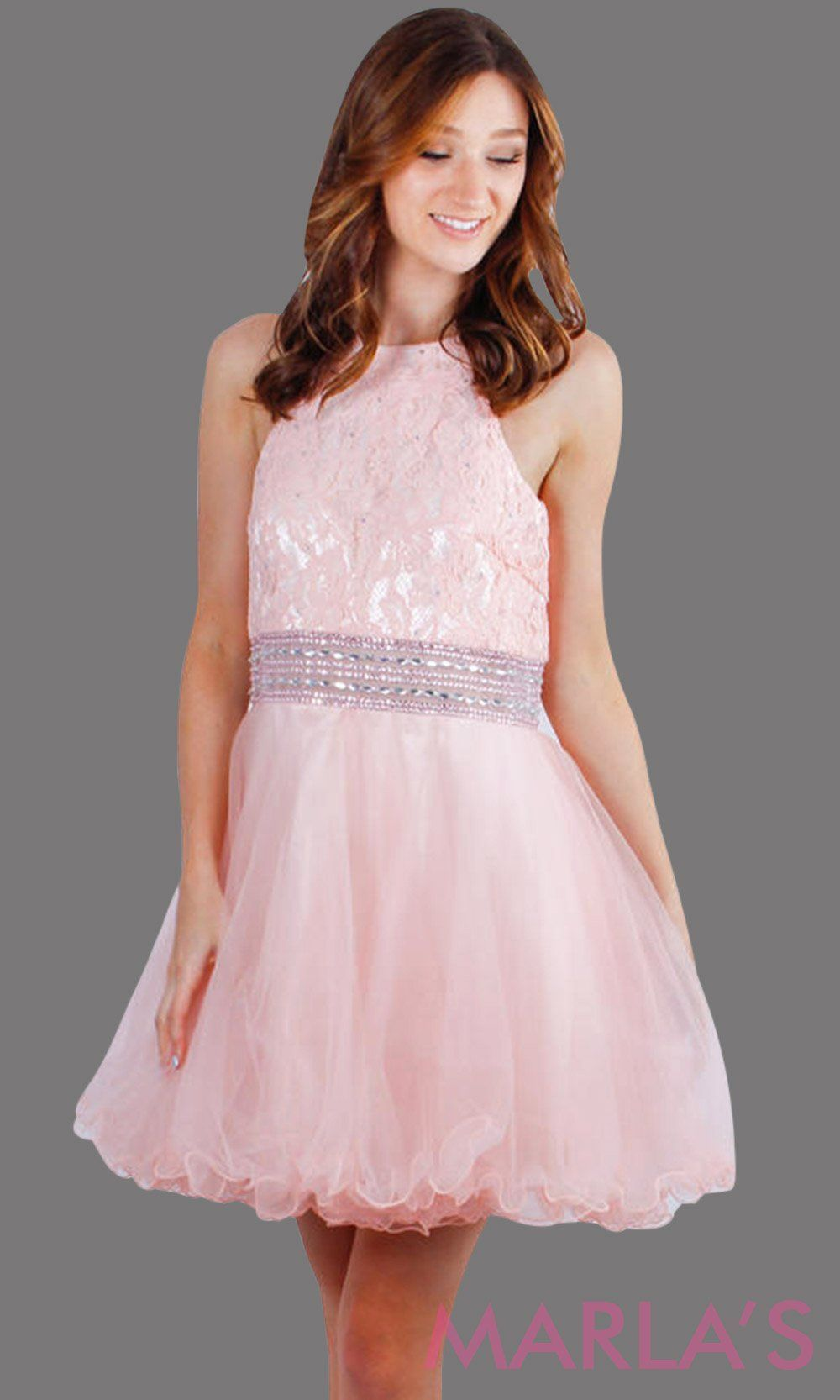 0ff32682245 Short blush pink high neck graduation dress with beaded waist. It has puffy  tulle skirt. Perfect for grade 8 grad