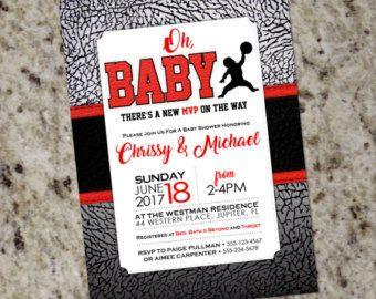 Custom Baby Shower Invitations Air Jordan Baby Shower Theme