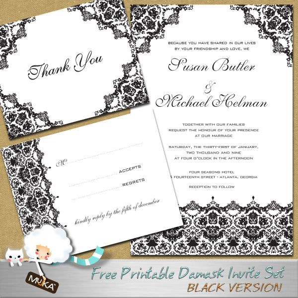 Free Black Damask Wedding Invitation Set FREE PRINTABLE WEDDING - Wedding invitation set templates