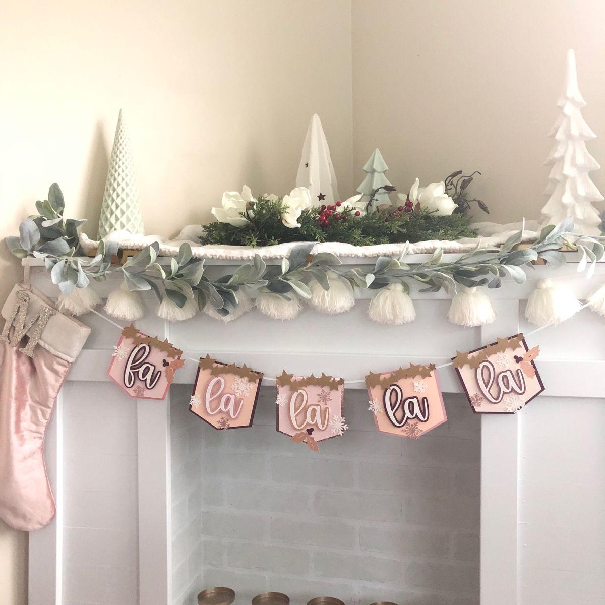 Fa La La La La Pink Christmas Holiday Banner In Muted Colors Etsy In 2020 Pink Christmas Christmas Party Decorations Pink