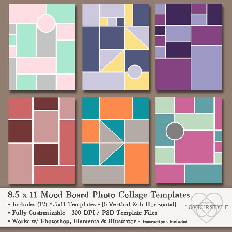 85x11 Photo Mood Board Template Pack, Photo Collage, Scrapbooks - vertical storyboard