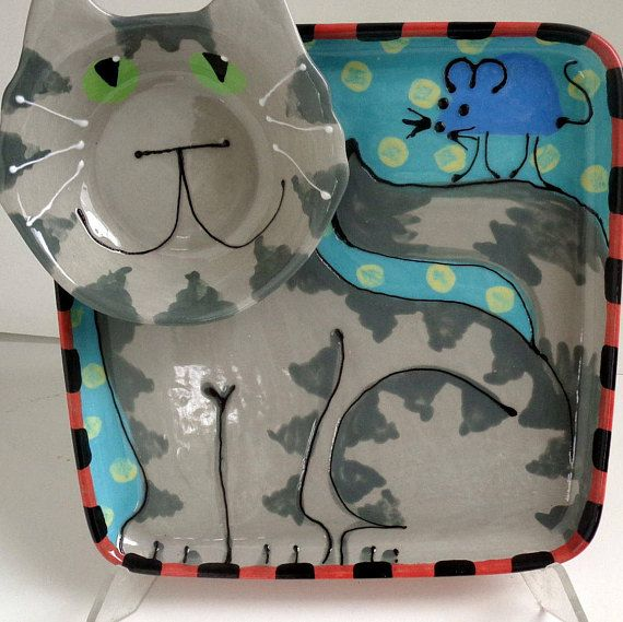 Grey Tabby Cat Pottery Ceramic Chip and Dip Serving Tray