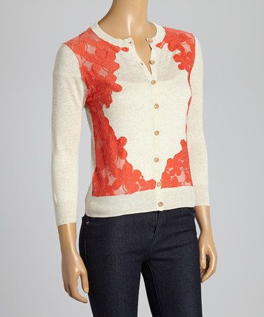 Love this Oatmeal & Coral Floral Lace Crewneck Cardigan on #zulily! #zulilyfinds