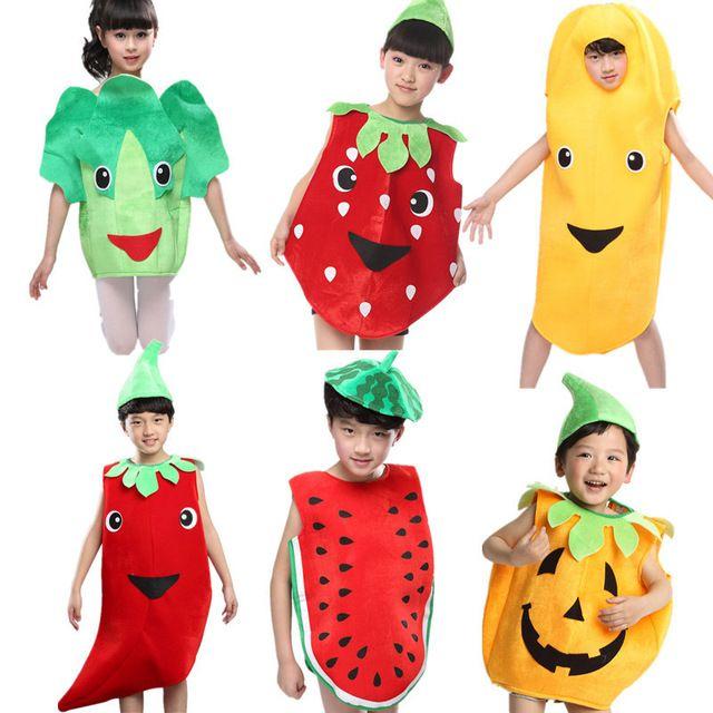Enfants Enfants Halloween Party Enfants de Jour de Bande Dessin\u0026eacute;e  Fruits L\u0026eacute;gumes Costume Cosplay V\u0026ecirc;tements Citrouille Banane  Arbre pour