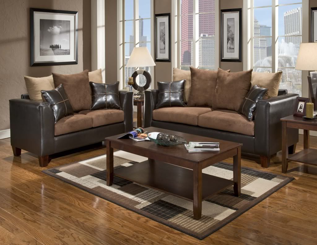Casual Contemporary Chocolate Brown Sofa U0026 Love Seat Living Room Furniture  Set