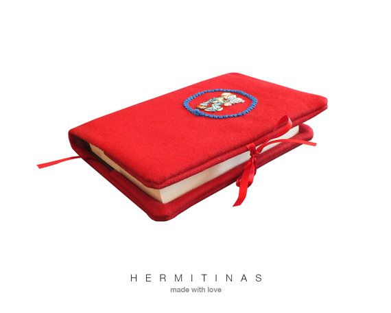 Red Book cover. Red Fabric book cover.  Red Felt door Hermitinas