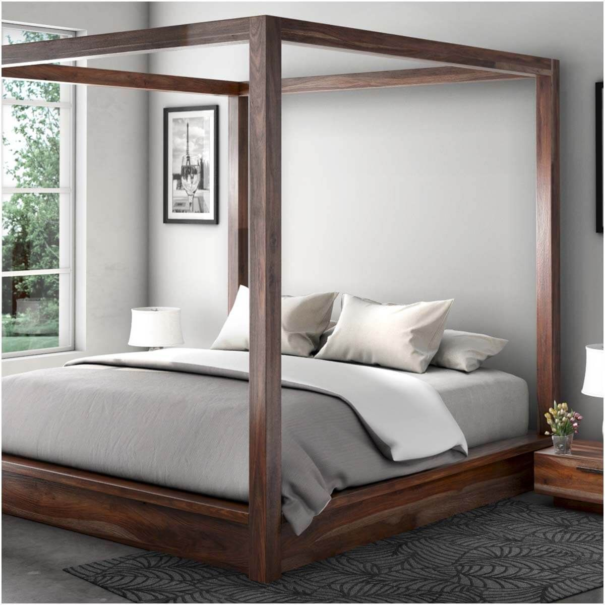 Hampshire Rustic Solid Wood King Size Canopy Bed With Images