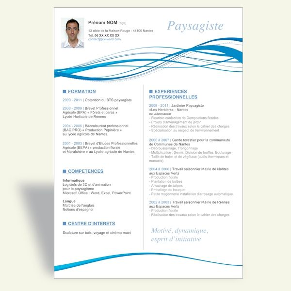 Telecharger Exemple Modele Cv Word Original Paysagistejpg - resume templates microsoft word 2003