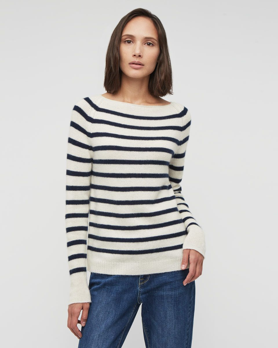92181e180e5da6 Cashmere Edie Stripe Jumper   Style File   Cashmere cardigan ...
