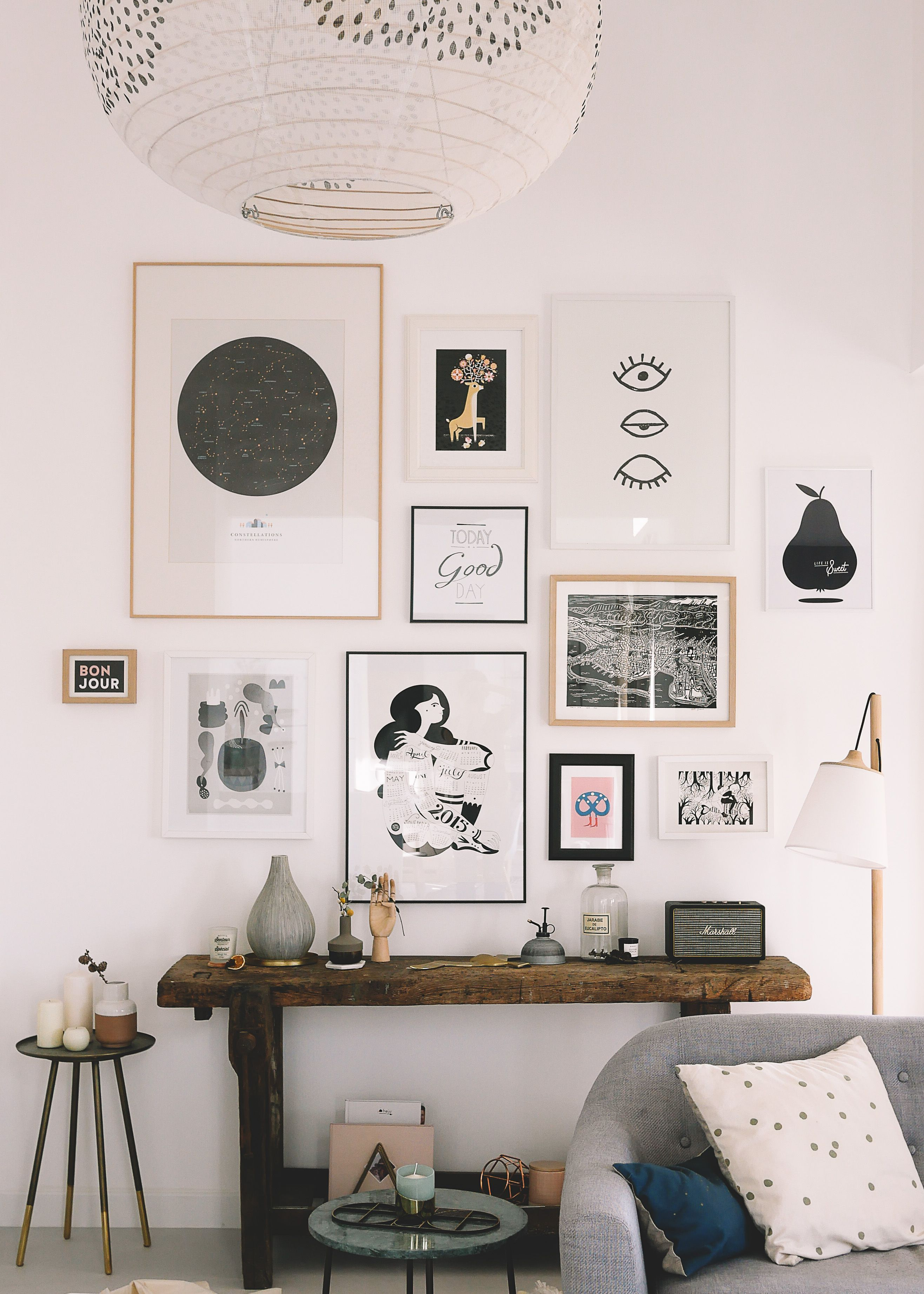 Mur De Cadres Mes Adresses Pour Trouver De Belles Affiches Idee Deco Mur Idee Deco Mur Salon Decoration Mur