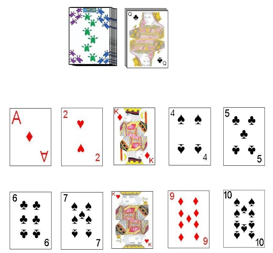 A player's filled layout in the card game Trash Card